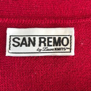 San Remo Sweaters - Vintage San Remo Red Knit Cardigan Sweater L